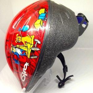 Giro bike helmet toddler,red w/dogs /train